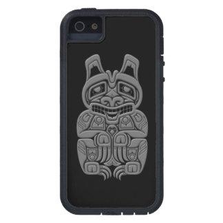 Grey Haida Spirit Bear on Black iPhone 5 Covers