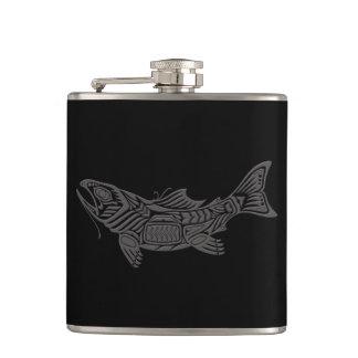 Grey Haida Spirit Fish on Black Hip Flask