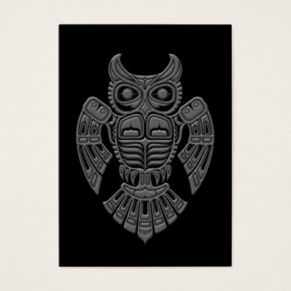 Grey Haida Spirit Owl on Black Business Card