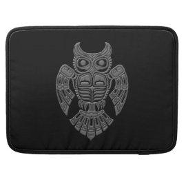 Grey Haida Spirit Owl on Black Sleeves For MacBook Pro