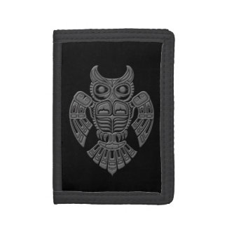 Grey Haida Spirit Owl on Black Trifold Wallets
