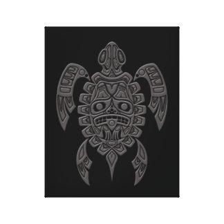 Grey Haida Spirit Sea Turtle on Black Canvas Print