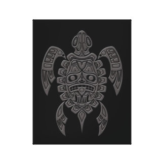 Grey Haida Spirit Sea Turtle on Black Canvas Print