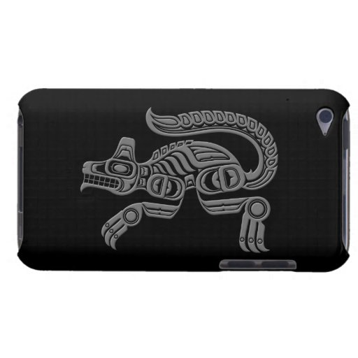 Grey Haida Spirit Wolf on Black Barely There iPod Cases
