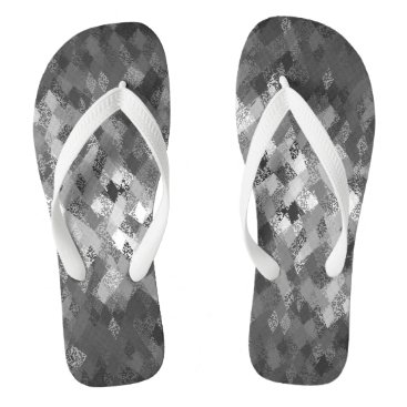 Beach Themed Grey Harlequin Abstract Pattern Flip Flops