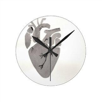 Grey Heart Round Clock