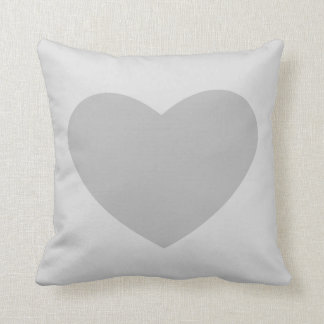 Grey Heart Throw Pillow
