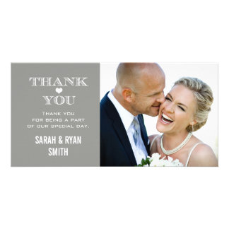 Grey Heart Wedding Photo Thank You Cards Photo Card Template