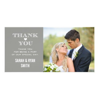 Grey Heart Wedding Photo Thank You Cards Photo Greeting Card