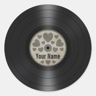 Grey Hearts Personalized Vinyl Record Album Classic Round Sticker