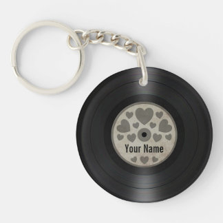 Grey Hearts Personalized Vinyl Record Album Keychain
