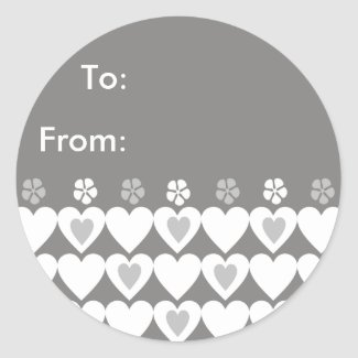 Grey Hearts Stickers - Personalized Gift Tags sticker