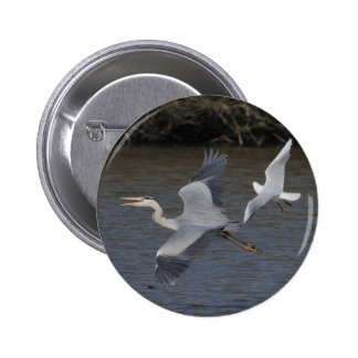 Grey Heron Air Battle Pinback Button