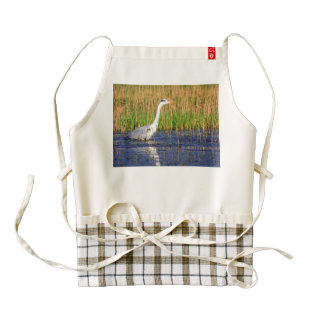 Grey heron, ardea cinerea, in a pond zazzle HEART apron
