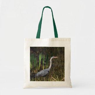 Grey heron canvas bags