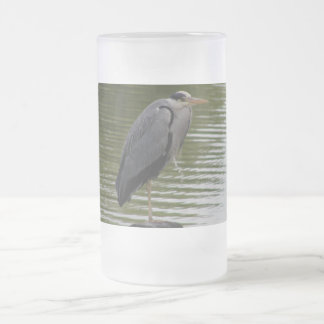 Grey Heron Frosted Glass Beer Mug