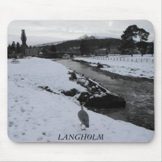 Grey Heron in Langholm in the snow mousemat Mouse Pad