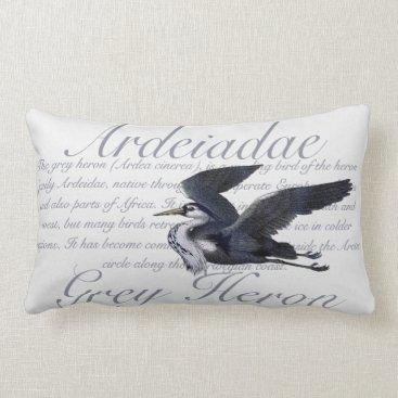 Beach Themed Grey Heron Lumbar Pillow