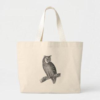 Grey Horned Owl Illustration Large Tote Bag