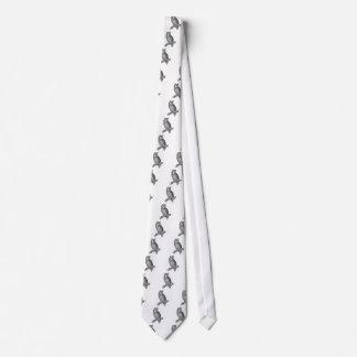 Grey Horned Owl Illustration Neck Tie