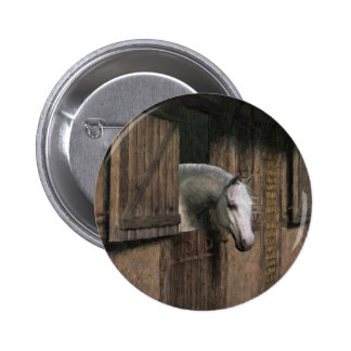 Grey Horse at the Stable Door Button