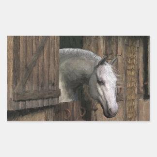 Grey Horse at the Stable Door Rectangular Sticker