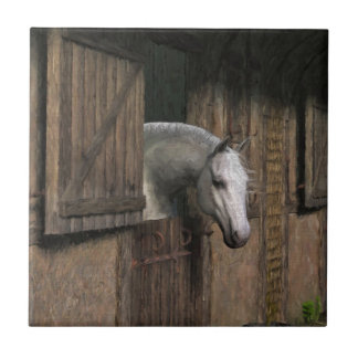 Grey Horse at the Stable Door Tile