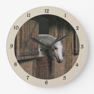 Grey Horse At The Stable Door Wall Clock
