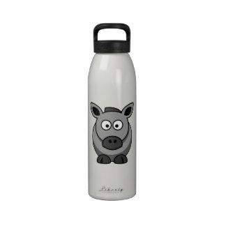 Grey Horse Cartoon Art Reusable Water Bottles
