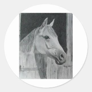 Grey Horse Classic Round Sticker