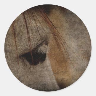 Grey Horse Face Grunge Classic Round Sticker