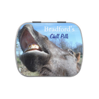 Grey Horse Funny face : personalize Jelly Belly Candy Tins