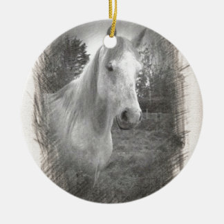 Grey Horse picture Double-Sided Ceramic Round Christmas Ornament