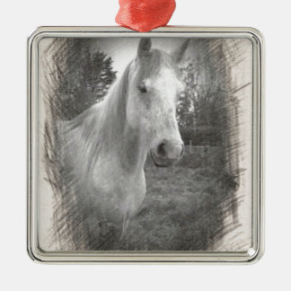 Grey Horse picture Metal Ornament