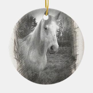 Grey Horse picture Round Ceramic Decoration