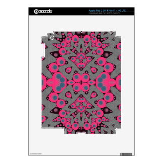 Grey Hot Pink Abstract Skins For iPad 3