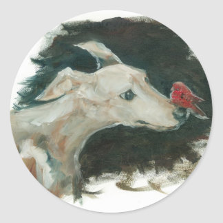 grey hound and finch painting! classic round sticker