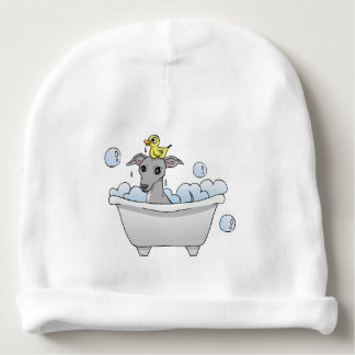 Grey Hound Dog Bath Time Illustration Baby Beanie