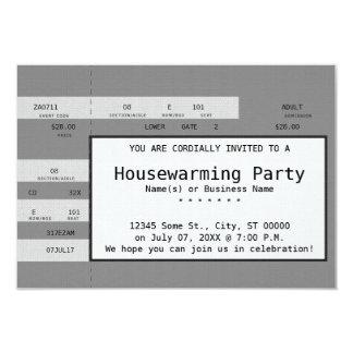 grey housewarming concert ticket card