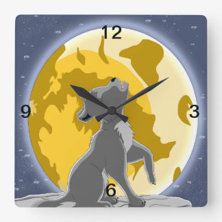 Grey Howling Square Wall Clock