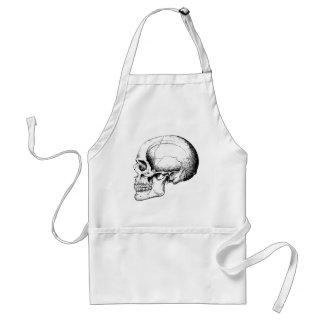 Grey Human Skull side Adult Apron