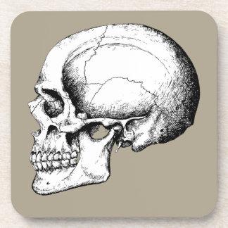 Grey Human Skull side Drink Coaster