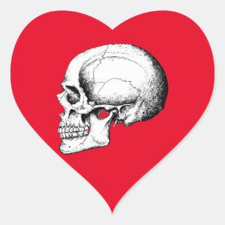 Grey Human Skull side Heart Sticker
