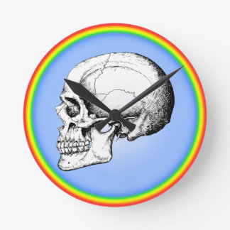 Grey Human Skull side Round Clock