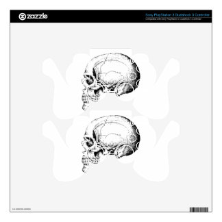 Grey Human Skull side Skins For PS3 Controllers