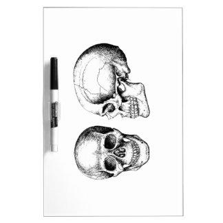 Grey Human Skulls Face Side Dry Erase Whiteboards