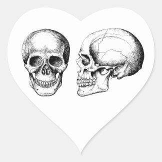 Grey Human Skulls Face Side Heart Sticker