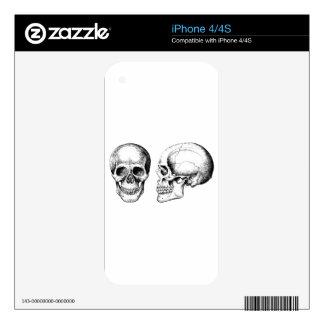 Grey Human Skulls Face Side iPhone 4 Skin