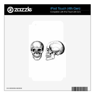 Grey Human Skulls Face Side iPod Touch 4G Skin