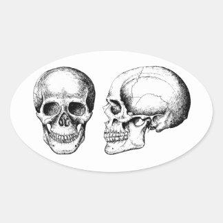 Grey Human Skulls Face Side Oval Sticker
